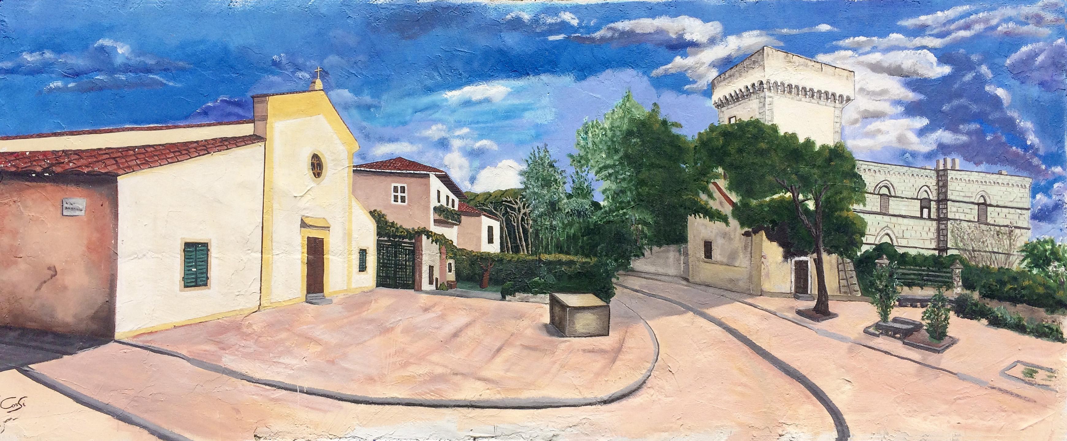 La Piazzetta della Torre Medicea di Castiglioncello in un dipinto di Ivo Corsi